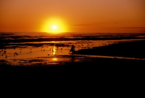 Sunrise and surfer