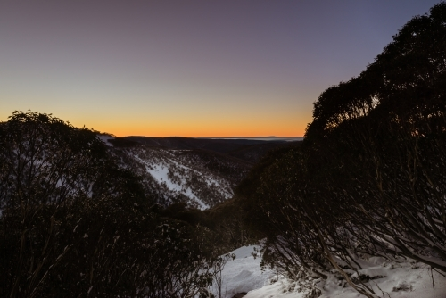 sunrise over snowy mountains, Mt Hotham region
