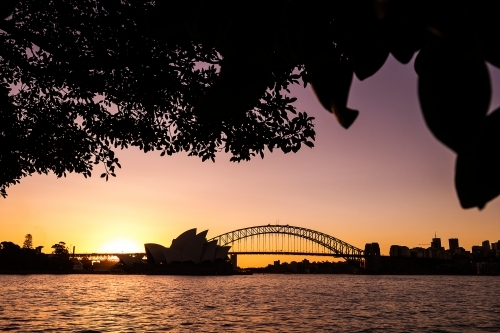 Sunset of Sydney Skyline at Mrs Macquarie's Chair