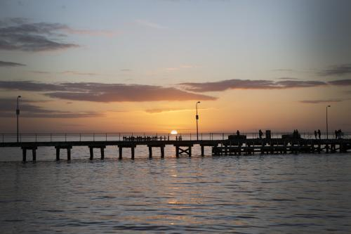 Sunset over wharf