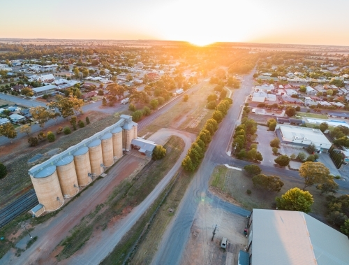 Image of Panorama of a road, houses and grain silos in the small