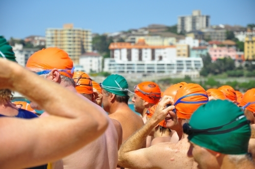 Swimmers at swimming race