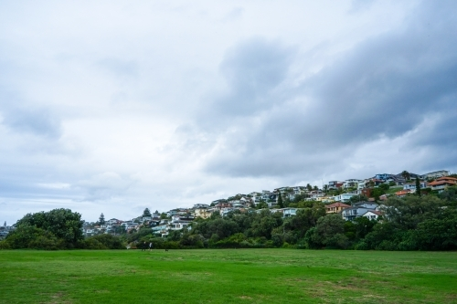 Sydney houses in the background behind park on a cloudy day