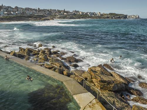 swimmers and surfers at Bronte Ocean Pool
