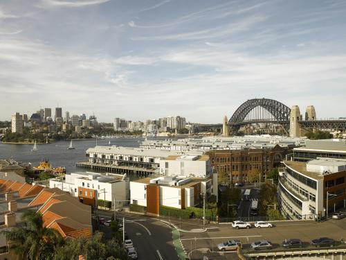 view of Sydney Harbour from top floor of Palisade Hotel