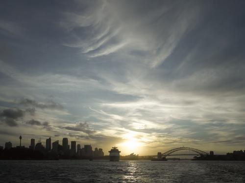 sydney skyline from manly ferry at sunset