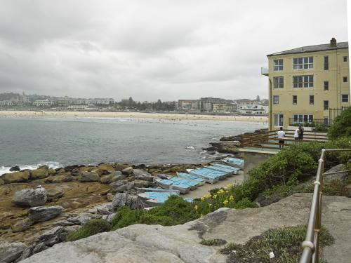 View of apartments and Bondi Beach on an overcast day