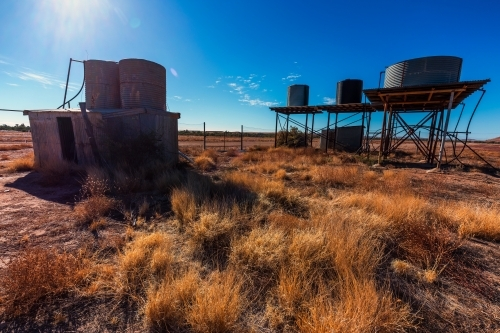 Tanks and old shack in outback Australia