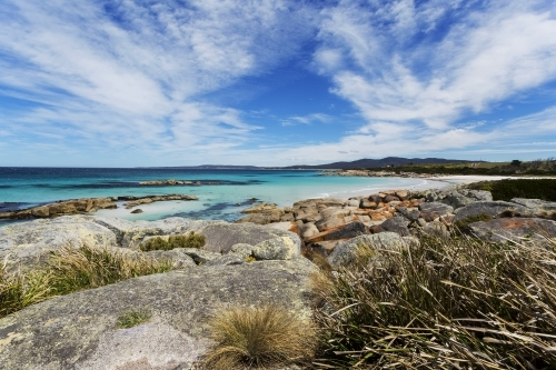 Tasmania beach and rocks landscape