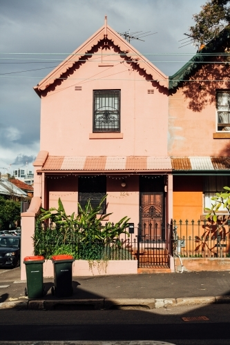 Terrace house in Glebe with bins out the front
