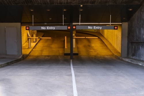 The exit of an underground car park.