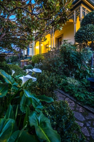 The gardens of historic Corinda accommodation in Hobart