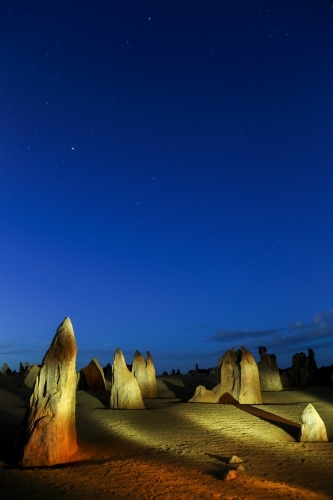 A light-painting of The Pinnacles, Western Australia