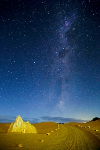 The Pinnacles Western Australia with stars at night