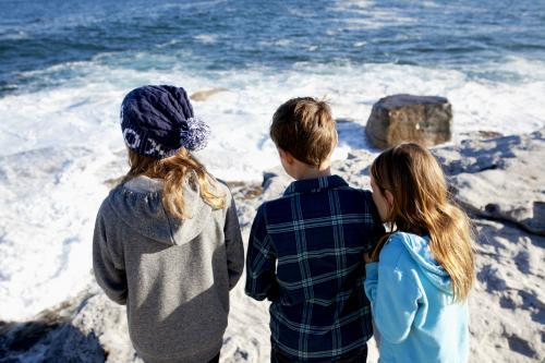 Three kids standing on a rock looking out at the ocean