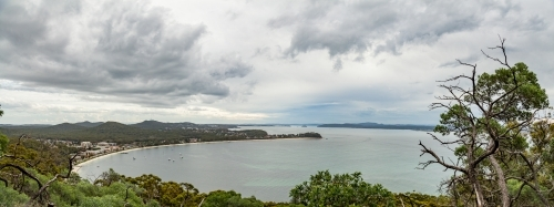 Coastal panorama on an overcast day from Tomaree Head, Nelsons Bay