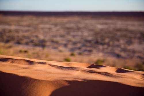 Top of red sand dune in desert