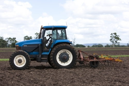 Tractor with Plow in Paddock