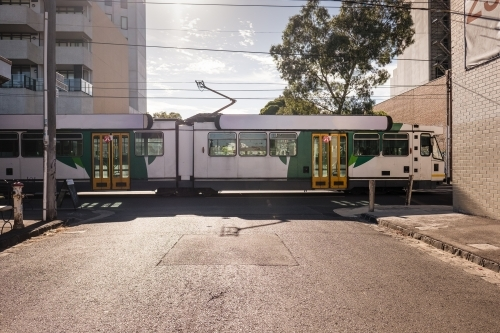 Tram passing on Melbourne street
