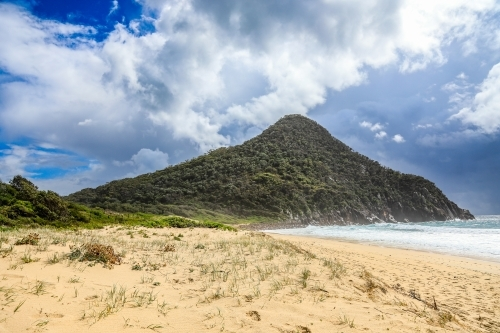 Tree covered mountain on coastline against sandy beach and cloudy blue sky