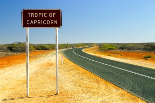 Highway sign marking the Tropic of Capricorn in WA.