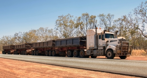 "Truck with four trailers, called a ""Road Train"" in Australia"