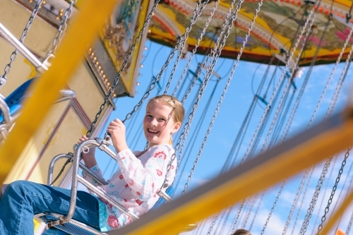 tween girl on ride at Royal Show
