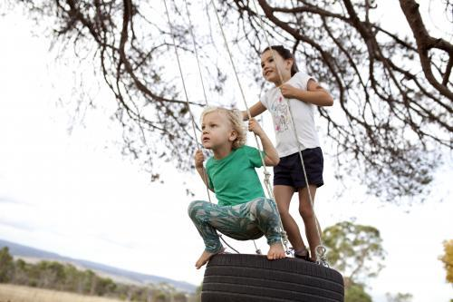 Two kids swinging on tyre swing in country back yard