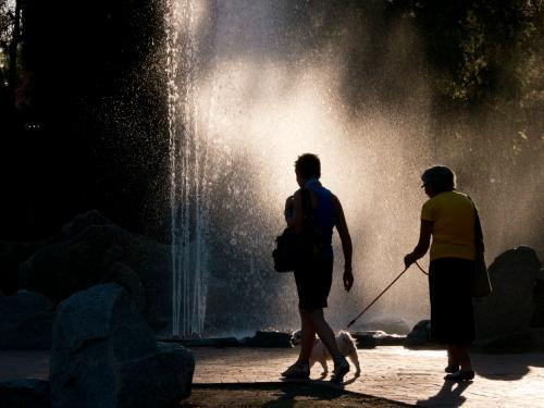 Two people walking a dog in front of a back lit fountain