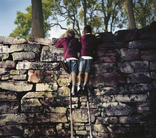 Two school boys on ladder looking over a rock wall