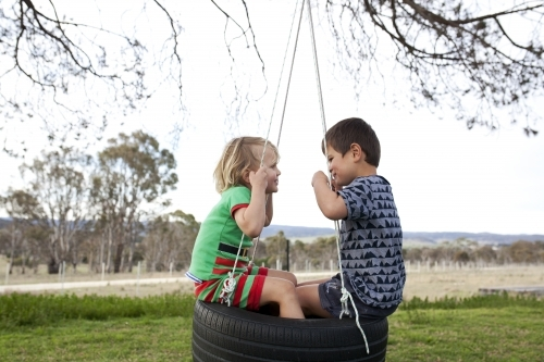 Two young boys sitting on tyre swing looking at each other