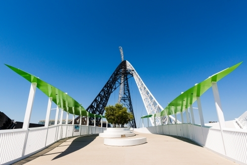 Unusual View across the Matagarup Bridge, with clear blue sky