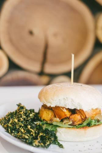 vegetarian burger with fried kale