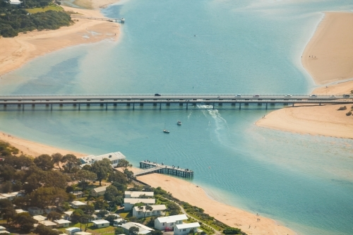 Aerial view of the bridges crossing the Barwon River at Barwon Heads