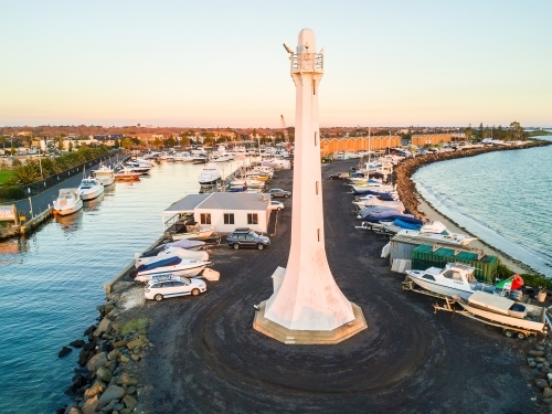 Looking down at the St Kilda Lighthouse and boats marked at the marina