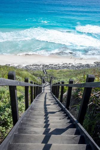 View down long stairway to the beach