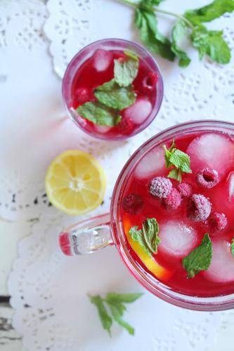 View from above of a refreshing, fruity summer drink with ice