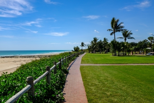 View of Cable Beach and park beneath blue sky