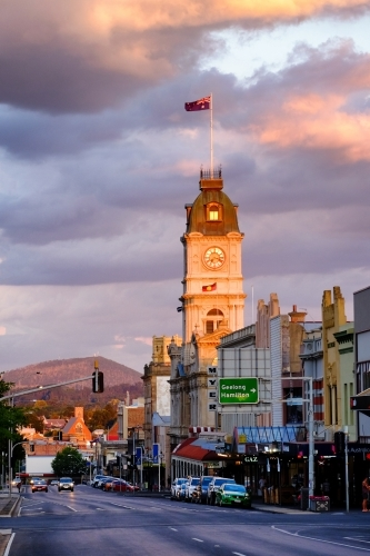 View of Sturt Street, Ballarat with Ballarat Town Hall clock tower