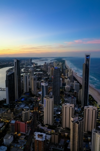View of Surfers Paradise at dusk