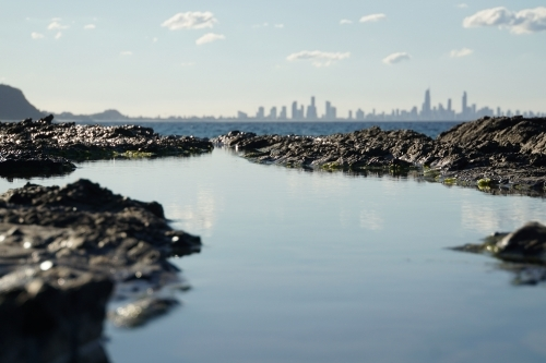 View of Surfers Paradise from rock pools
