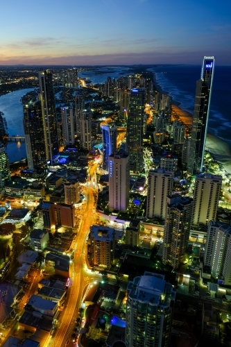 View of Surfers Paradise lit up at night