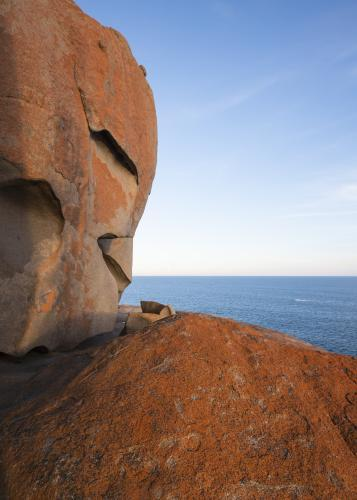 View over flat sea from the orange Remarkable Rocks on Kangaroo Island