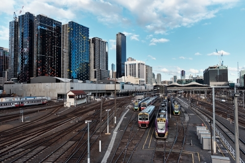 View towards Southern Cross Station from Latrobe St Bridge
