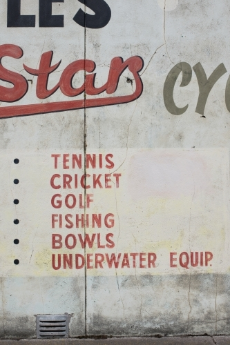 Vintage retail signwriting for Sports Shop