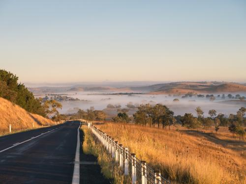 Oxley Highway approaching from the east of Walcha just after sunrise