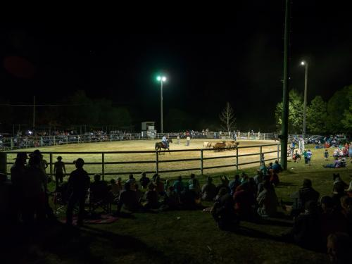 Walcha Show rodeo ring at night with spectators