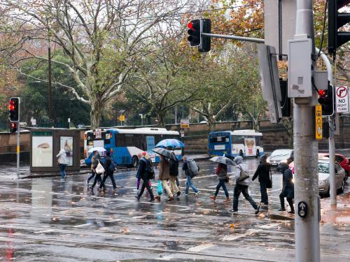 Pedestrians with umbrellas crossing at traffic lights on a rainy day