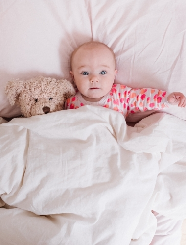 Wide eyed little girl in bed with teddy bear.