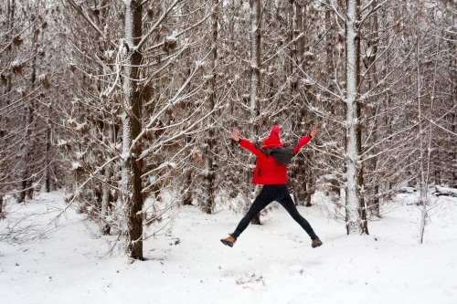 Woman does a star jump in the snow filled pine forest.